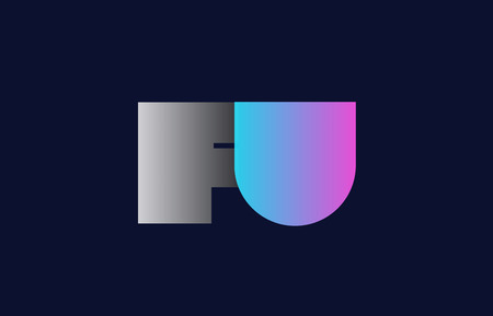 initial alphabet letter fu f u logo combination in pink blue and grey colors suitable for business and corporate identity Illustration