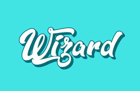 wizard hand written word text for typography design. Can be used for a logo, branding or card Ilustracja