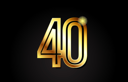 gold number 40 logo design suitable for a company or business
