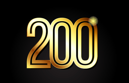 gold number 200 logo design suitable for a company or business Ilustrace