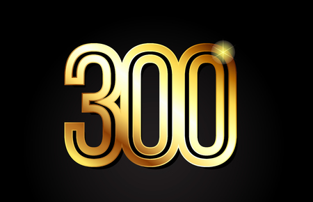 gold number 300 logo design suitable for a company or business