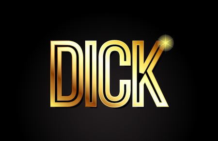 dick word typography design in gold or golden color suitable for logo, banner or text design