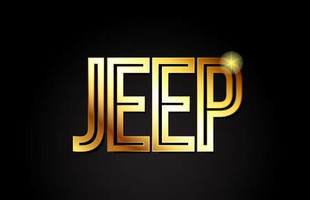 jeep word typography design in gold or golden color suitable for logo, banner or text design