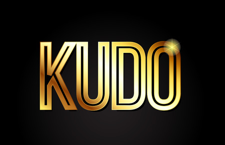 kudo word typography design in gold or golden color suitable for logo, banner or text design