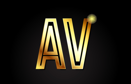 gold alphabet letter av a v logo combination design suitable for a company or business