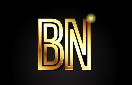 gold alphabet letter bn b n logo combination design suitable for a company or business 일러스트