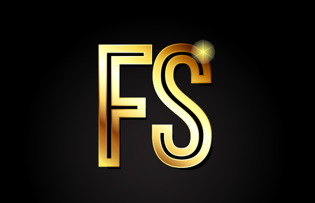 gold alphabet letter fs f s logo combination design suitable for a company or business