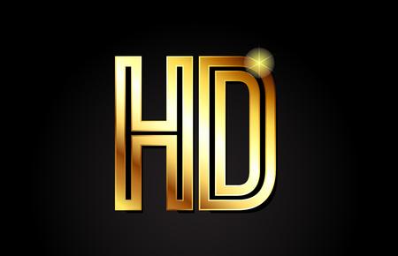 gold alphabet letter hd h d logo combination design suitable for a company or business Logó