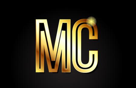 gold alphabet letter mc m c logo combination design suitable for a company or business