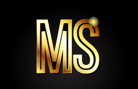 gold alphabet letter ms m s logo combination design suitable for a company or business Illustration