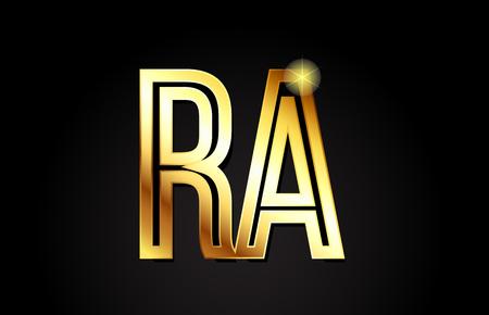 złota litera alfabetu ra ra kombinacja logo projekt odpowiedni dla firmy lub firmy
