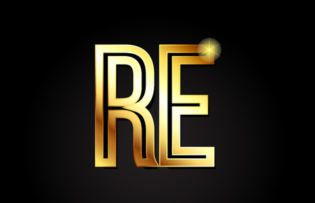 gold alphabet letter re r e logo combination design suitable for a company or business Logo