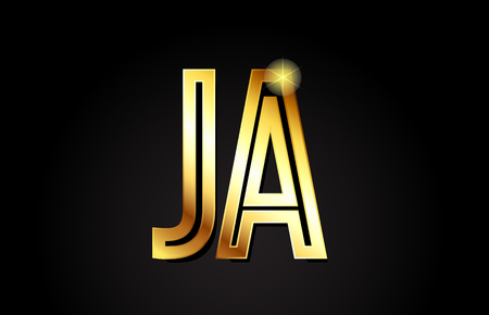 gold alphabet letter ja j a logo combination design suitable for a company or business
