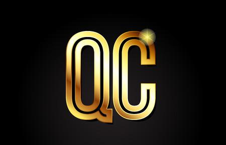 gold alphabet letter qc q c logo combination design suitable for a company or business Ilustrace