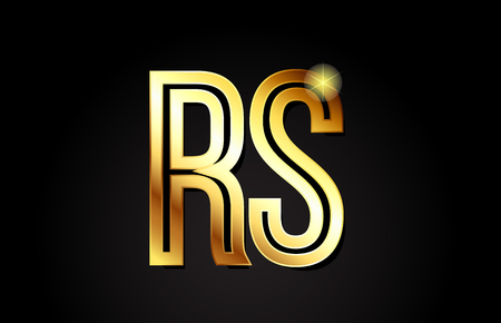 gold alphabet letter rs r s logo combination design suitable for a company or business