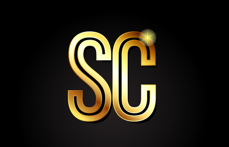 gold alphabet letter sc s c logo combination design suitable for a company or business Illustration