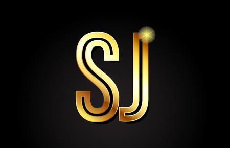 Oro alfabeto letra sj sj logo diseño de combinación adecuada para una empresa o negocio