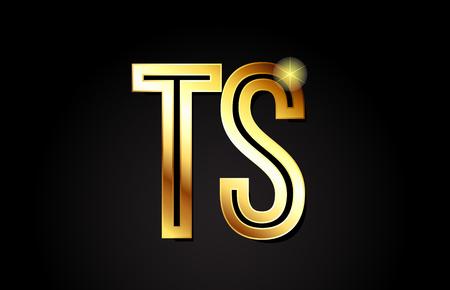gold alphabet letter ts t s logo combination design suitable for a company or business Logó