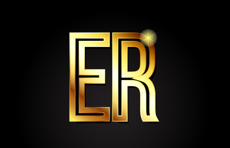 gold alphabet letter er e r logo combination design suitable for a company or business Illusztráció