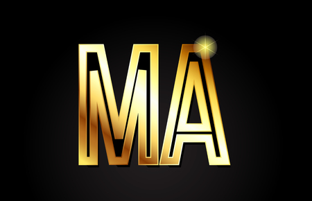 gold alphabet letter ma m a logo combination design suitable for a company or business