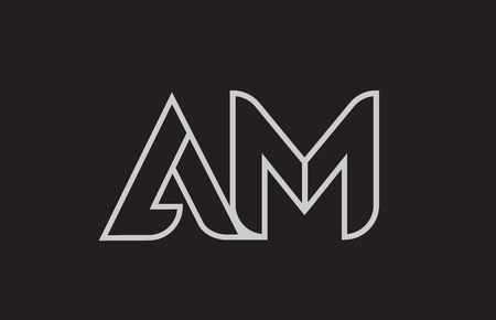 black and white alphabet letter am a m logo combination design suitable for a company or business 스톡 콘텐츠 - 105022286