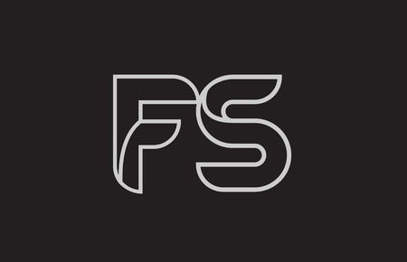 black and white alphabet letter fs f s logo combination design suitable for a company or business Ilustração