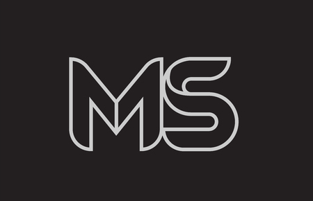 black and white alphabet letter ms m s logo combination design suitable for a company or business