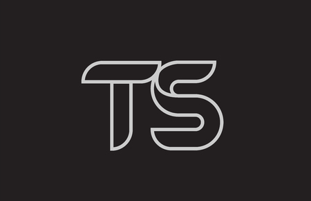 black and white alphabet letter ts t s logo combination design suitable for a company or business