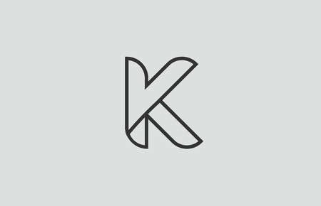 black and white alphabet letter k logo design suitable for a company or business 向量圖像