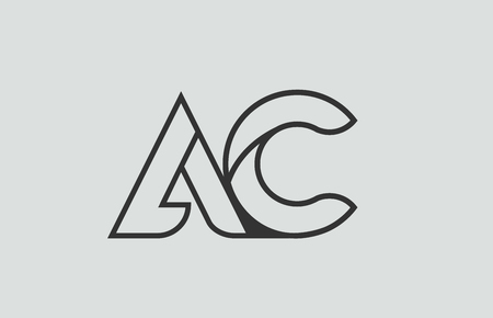 black and white alphabet letter ac a c logo combination design suitable for a company or business