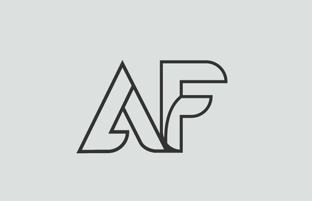 black and white alphabet letter af a f logo combination design suitable for a company or business