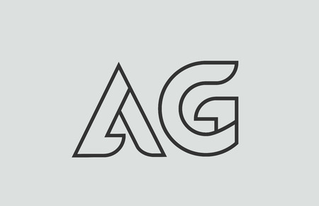 black and white alphabet letter ag a g logo combination design suitable for a company or business