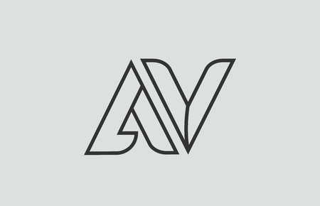 black and white alphabet letter av a v logo combination design suitable for a company or business Illustration