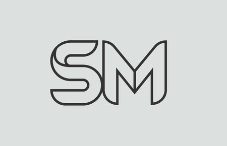 black and white alphabet letter sm s m logo combination design suitable for a company or business