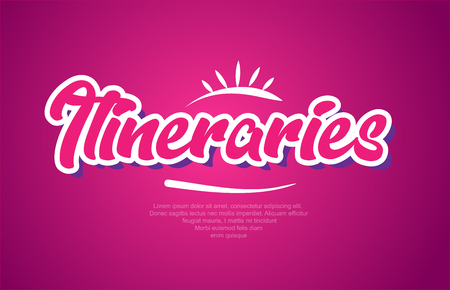 itineraries word typography design in pink color suitable for logo, banner or text design
