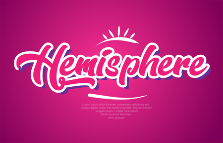 hemisphere word typography design in pink color suitable for logo, banner or text design