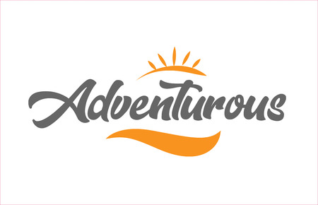 adventurous word hand writing text typography design with black and orange color suitable for logo, banner or card design