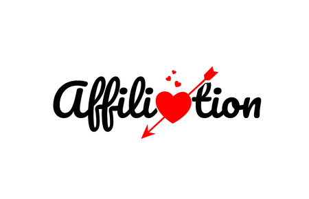 affiliation word text with red broken heart with arrow concept, suitable for logo or typography design