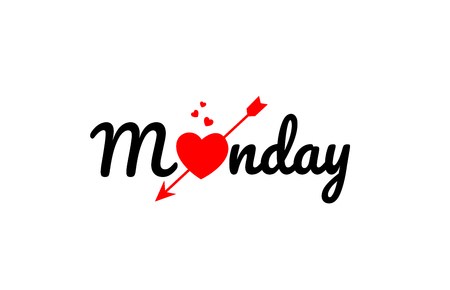 monday word text with red broken heart with arrow concept, suitable for logo or typography design