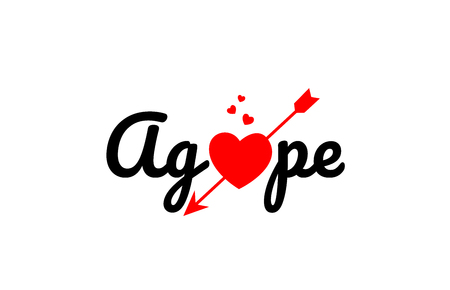 agape word text with red broken heart with arrow concept, suitable for logo or typography design