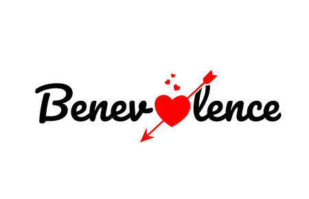 benevolence word text with red broken heart with arrow concept, suitable for logo or typography design