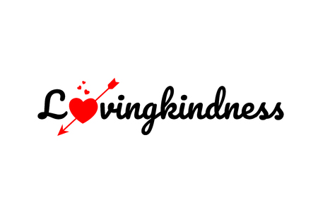 lovingkindness word text with red broken heart with arrow concept, suitable for logo or typography design