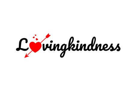 Texte de mot de bonté avec coeur brisé rouge avec concept de flèche, adapté à la conception de logo ou de typographie