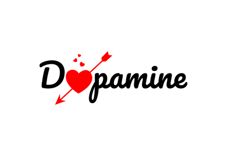 dopamine word text with red broken heart with arrow concept, suitable for logo or typography design Ilustrace
