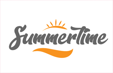 summertime word hand writing text typography design with black and orange color suitable for logo, banner or card design