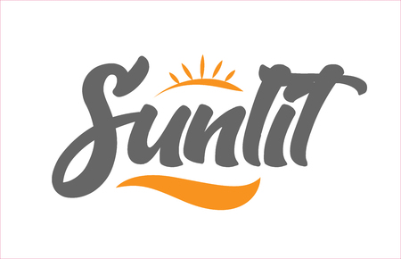 sunlit word hand writing text typography design with black and orange color suitable for logo, banner or card design