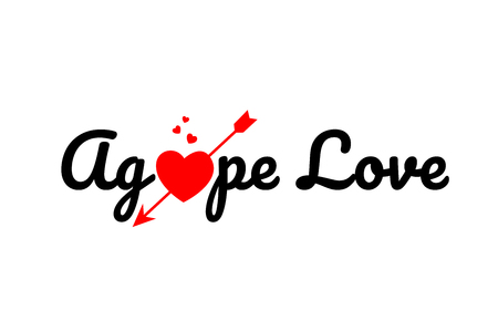 agape love word text with red broken heart with arrow concept, suitable for logo or typography design