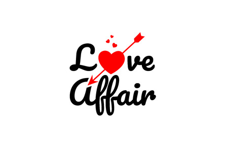 love affair word text with red broken heart with arrow concept, suitable for logo or typography design