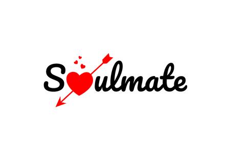 Seelenverwandter Worttext mit rotem gebrochenem Herzen mit Pfeilkonzept, geeignet für Logo oder Typografieentwurf Logo