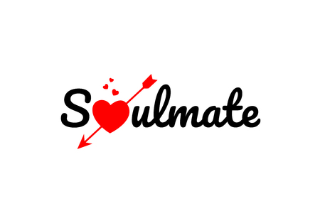 soulmate word text with red broken heart with arrow concept, suitable for logo or typography design